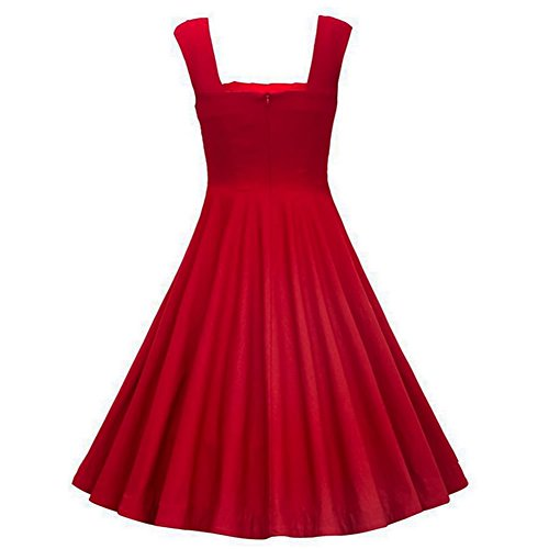 rot Rot Damen 1235 DISSA Kleid Vintage Retro Rockabilly 50er Cocktail RxTw4aZ