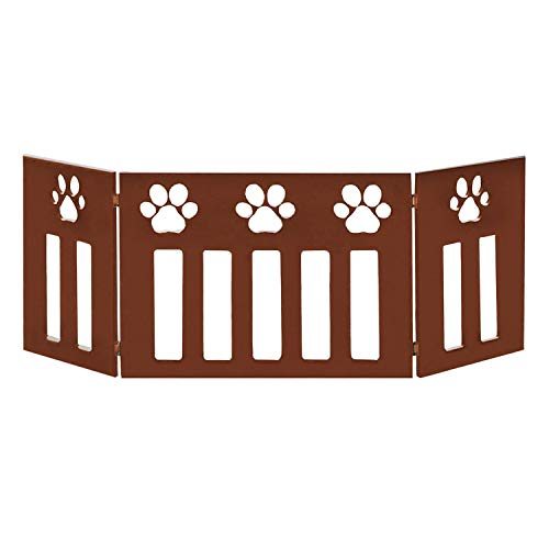 Etna 3-Panel Wood Pet Gate with Paw Print Cutout Design – Freestanding Tri Fold Dog Fence for Doorways, Stairs – Indoor…