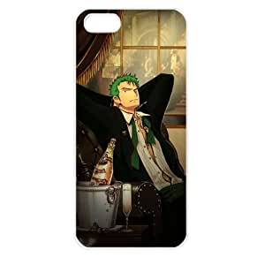 One Piece popular Anime Manga Cartoon Roronoa Zoro Comic iPhone 5 Soft Black or White case (White)