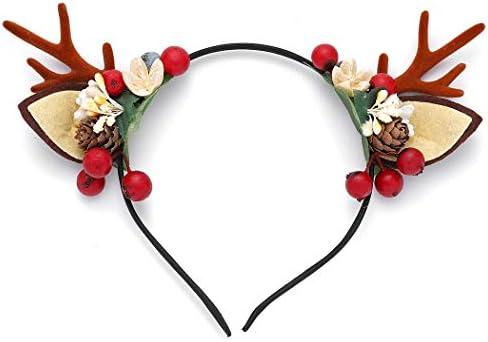 Unicra – Fascia natalizia per capelli con corna di fiori, cervi, corna di animali, accessorio per capelli per donne e ragazze