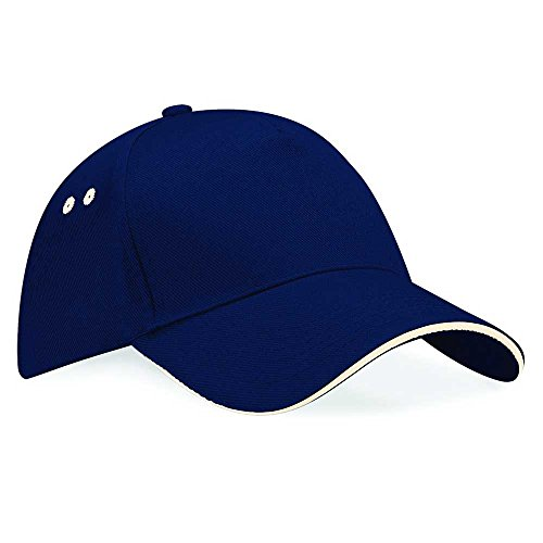 Beechfield Unisex Ultimate 5 panel contrast cap with sandwich peak French Navy/Putty