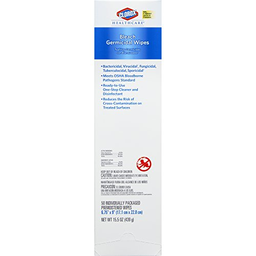 Clorox Healthcare Bleach Germicidal Wipes, 50 Count Individual Packs, 6 Boxes/Case by Clorox