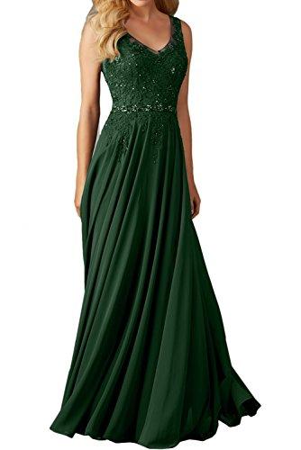 Linie Lang Abendkleider A Damen Dunkelgruen Einfach V Festkleid Ballkleid Spitze Promkleider Ivydressing schleppe Ausschnitt wf8xHxq