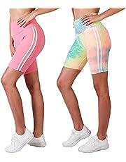 "INDERO 2 Pack 8"" Biker Shorts for Women Ultra Soft High Waisted Yoga Workout Short Pants (S/M L/XL)"