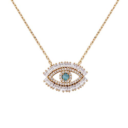 Turkish Evil Eye Necklace Cats Eye Gold Plated Faith Protection Lucky Jewelry for Women and Girls Party Special Days(Evil Eye Necklace)