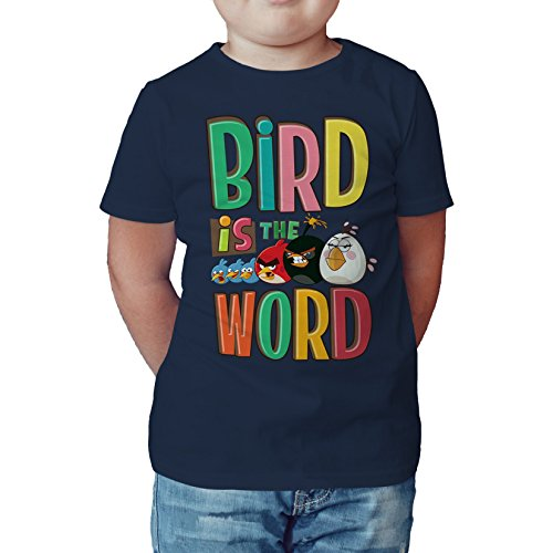 Angry Birds Group Text Bird Word Official Kids T Shirt  Navy   12 13