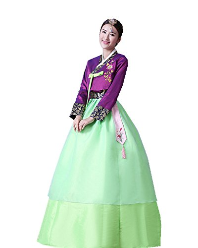 Korean Dance Costume (Women's Korean Traditional Costume Long Sleeve Classic embroidery Hanbok Set)
