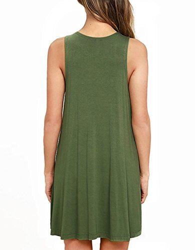 23db8ac2aa8 AUSELILY Women's Sleeveless Pockets Casual Swing T-Shirt Dresses (M, Army  Green) < Casual < Clothing, Shoes & Jewelry - tibs