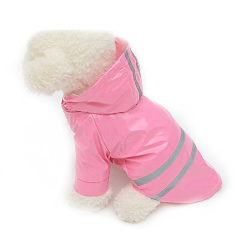 S-Lifeeling Candy Color Puppy Raincoat Fashion Teddy Outdoor Waterproof Dog Rainwear Hooded Jacket Poncho Pet Raincoat for Small Medium (Homemade Firefighter Costume)