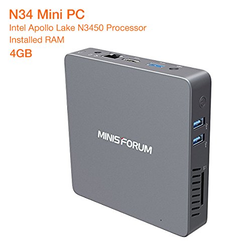 N34 Fanless Mini PC Desktop, Windows 10 Pro 64-Bit/4GB/64GB, Support M.2 SSD, Intel Celeron N3450 (up to 2.2 GHz) HD Graphics 500, 4K/1000M LAN/2.4G+5.8G WiFi/BT 4.0 [Dual Output - HDMI&VGA]