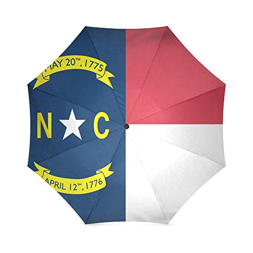 North Carolina State Flag Foldable Rain Umbrella Compact Parasol/Sun Umbrella