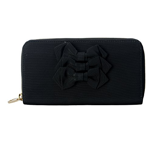 Red Valentino Women's Black Bow Decorated Clutch Wallet Womens Valentino Bow