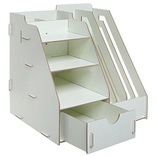 All-in-One Beige Wood Desktop Organizer Rack w/ 2 Magazine Holder, Drawer, Shelf Cubbies & Office Supply Holder Photo #2