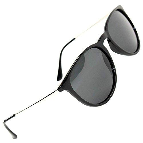 Plastic Cat Eye Sunglasses - Women's Polarized Sunglasses from EYE LOVE, Designer, 100% UV Block + 5 BONUSES, black