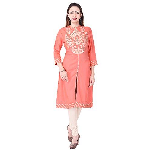 Bollywood Indian Designer Latest Women's Printed Flex V-Neck Kurti Jaipuri 100% Cotton Kurti Kurta Party Wear (Medium, Pink)