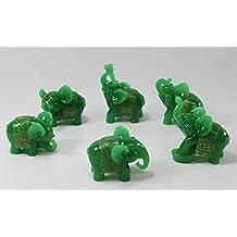 Feng Shui Set of 6 Jade Green Elephant Statues Wealth Lucky Figurines Home Decor Housewarming Congratulatory Gift US Seller by KT