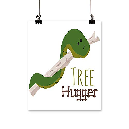 Artwork for Home DecorationsCute Cartoon Snake Hanging from Tree Hugger Love Mascot Humor Reptiles Comic Home Home Decor Wall Art,20