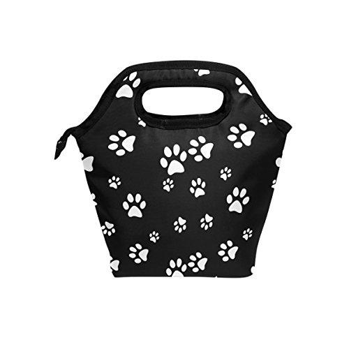 JOYPRINT Lunch Box Bag, Dog Paw Print Black White Insulated Cooler Ice Lunchbox Tote Bag Handbag for Men Women Kids Adult Boys Girls