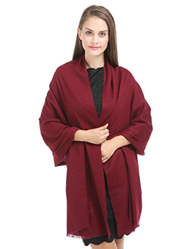 "Saferin 78""x28"" Cashmere and Wool Winter Shawl Wrap Scarf for Women With Gift Box (SSS-Burgundy)"