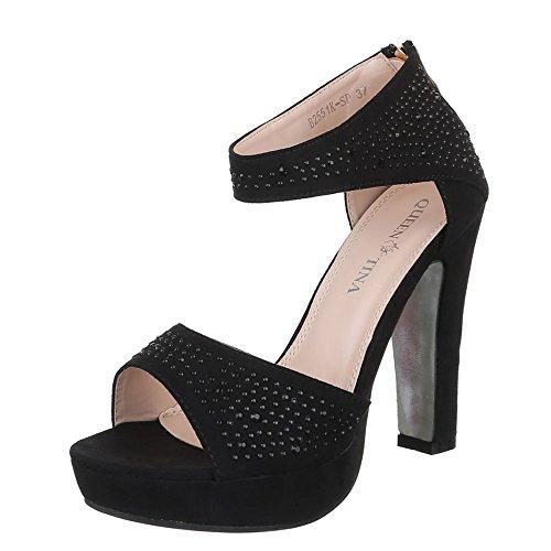Ital-Design High Heel Sandaletten Damenschuhe Pump Heels Reißverschluss Sandalen & Schwarz