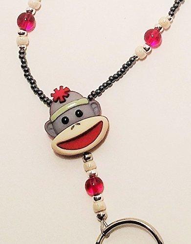 Handmade Beaded Lanyard~Sock Monkey~Grey~Badge ID Holder