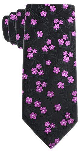 - Floral Ties for Men - Woven Necktie - Mens Black Pink Ties Flower Neck Tie