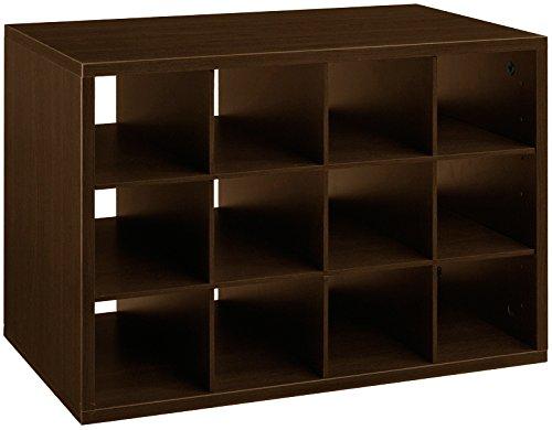 Organized Living freedomRail 15-Cubby Shoe Storage Big OBox - Chocolate Pear