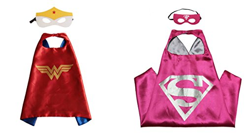 Supergirl & Wonder Woman Costumes - 2 Capes, 2 Masks w/Gift Box by Superheroes