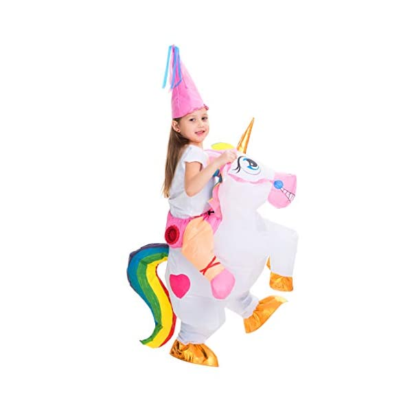 Spooktacular Creations Inflatable Costume Unicorn Riding a Unicorn Air Blow-up Deluxe Halloween Costume 5