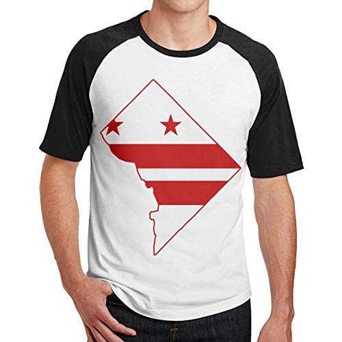 2 Pack Flag Map of Washington DC Men's Short-Sleeve Baseball Tshirt Raglan Jersey Shirt -