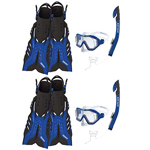 Body Glove Predator Purge Size Large Aquatic Mask Snorkel and Fins Set, Blue (2 Pack) ()