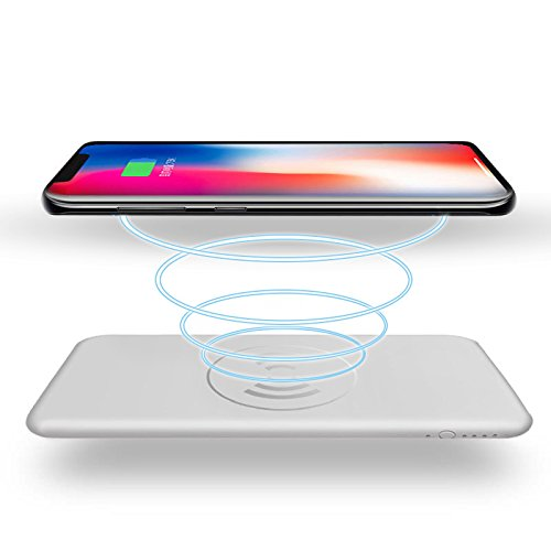 Wireless Charger Power Bank 10000mAh QI Battery Charger Pad , gebra Portable Power Bank Charger QI Wireless Charging Pad for Samsung Galaxy Note 8 S8 and Standard Charge for iPhone X / 8 / 8 Plus