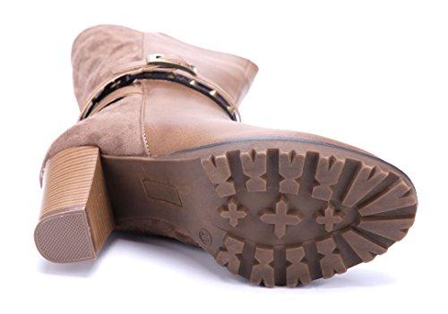 Schuhtempel24 Damen Schuhe Klassische Stiefeletten Stiefel Boots Trichterabsatz Schnalle/Nieten 8 cm Khaki