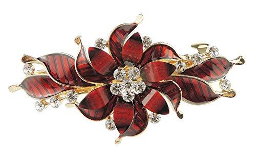 Ladies Enamel & Diamante Evening Occasion Hair Barrette Clip Flower Swirls Red