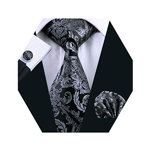 - Barry.Wang Mens Silk Paisley Tie Set Black Silver Necktie Pocket Square Cufflinks Set