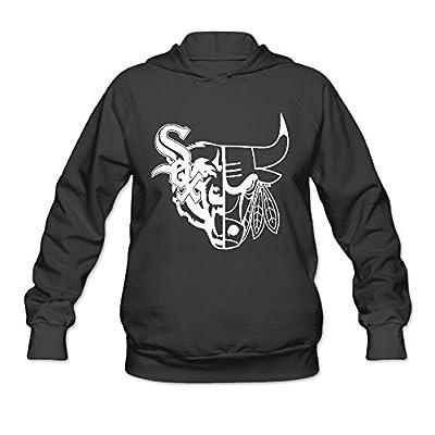 DVPHQ Women's Superior Bulls Blackhawks White Sox Hoodie Black
