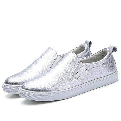 Noblespirit Damen Slip auf Loafer Schuhe Leder Casual Fashion Sneakers Silber