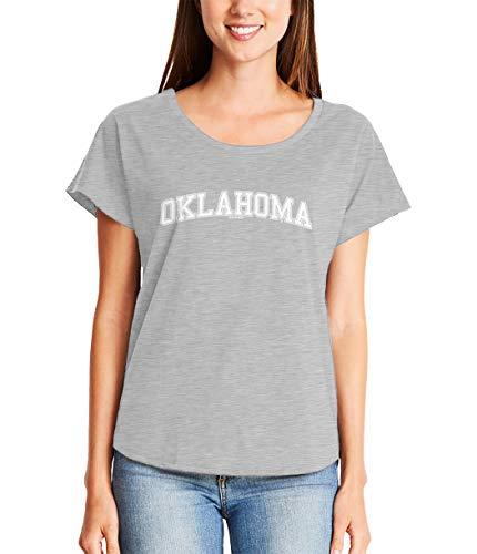 HAASE UNLIMITED Oklahoma - State School University Sports Ladies Dolman (Light Gray, Small)