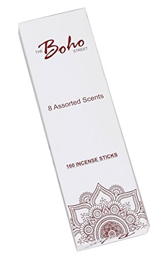 - The Boho Street Premium Incense Sticks - 8 Assorted Fragrances Sandalwood, Patchouli, Nag Champa, Lavender, Rose 20 sticks each 100% Hand Rolled & Dipped in India 20 x 8 Total 160 Sticks pack (160)