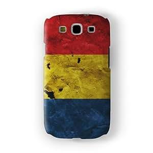 Grunge Paper Flag of Romania - Romanian Flag Funda Completa de Alta Calidad con Impresión 3D, Snap-On, Diseño Negro Formato Duro parar Samsung® Galaxy S3 de UltraFlags