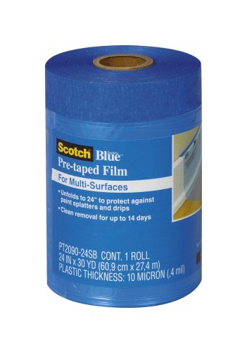 3M ScotchBlue Pre-taped Film, 24-Inch by 30-Yard, 1-Roll (PT2090-24SB)