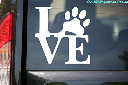 Minglewood Trading Love Pawprint WHITE vinyl decal for sale  Delivered anywhere in USA