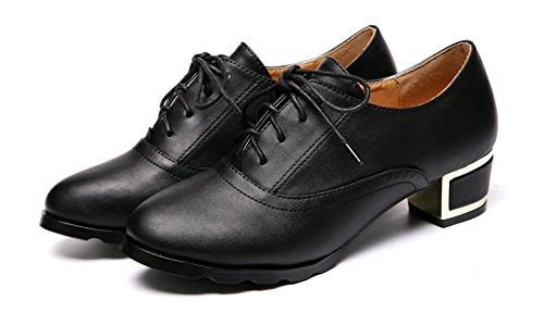 Trendy Mid Low Womens Toe Lace Round Oxfords Easemax Shoes Top Chunky Black Up Heels FI5xwqf8f