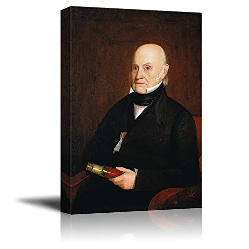 wall26 - Portrait of John Quincy Adams by William Hudson, Jr. (6th President of The United States) - American Presidents Series - Canvas Wall Art Gallery Wrap Ready to Hang - 12x18 inches