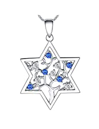 Jewish Necklace for Women Star of David Tree of Life Sterling Silver Cubic Zirconia Hannukah Jewelry