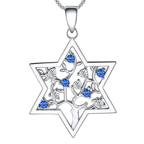 (Jewish Necklace For Women Star of David Tree of Life Sterling Silver Cubic Zirconia Hannukah Jewelry)