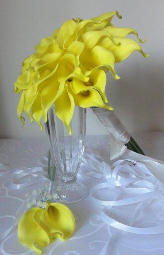 Calla Lily Garden (Lily Garden Luxury Calla Lily Bridal Wedding Bouquet 3 Dozen with Groom Boutonniere)