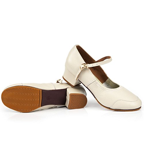 Dance Square Female Shoes Leather Shoes Dance high Ankle Strap BYLE Samba Sandals Dance Modern Soft White Jazz Leather Onecolor Shoes Adult Heeled FSqwvfB