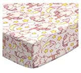 SheetWorld Fitted Cradle Sheet 18 x 36 - Baby Lambs Pink - Made In USA