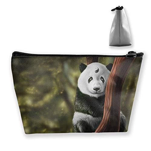 (Trapezoid Toiletry Pouch Portable Travel Bag Panda Yin Yang Clutch Bag)